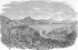 'Buyukdere Valley, and Beicos Bay'. wood engraved print 1856. Unsigned;sketched by Capt. Montagu O'Reilly.