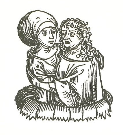 Woodcut: medieval young and old women embracing