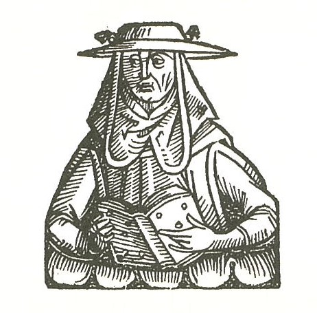 Woodcut: medieval figure with book