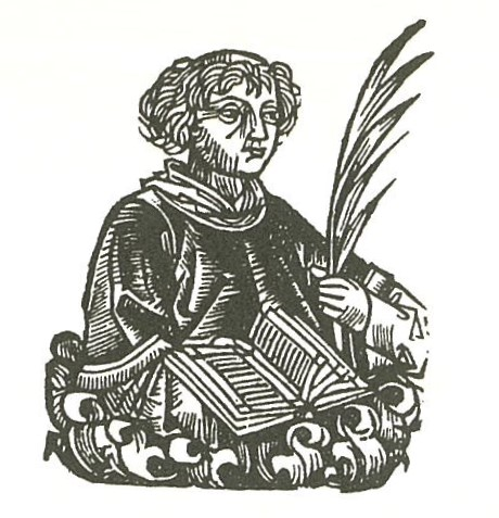 Woodcut: medieval scribe with quill